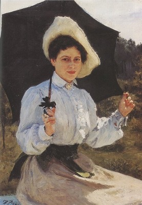 日向で 娘ナジェージダ・レーピナの肖像